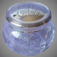 Sterling Cut Glass Vanity Jar Antique Silver Lid Monogram E.A.F.