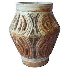 Pierced Stoneware Vase Vintage Signed Matthews Hand Thrown TLC