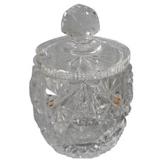 Cut Glass Mustard or Small Jam Jar With Lid Minor Condition Issue