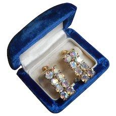 1950s AB Crystal Earrings Screw Back Dangle Vintage