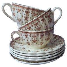 Copeland Spode Fleur De Lis Brown 3 Cups 5 Saucers