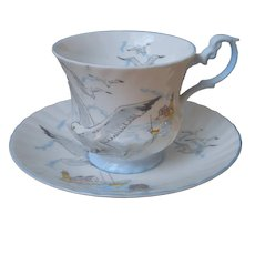 Seagull Queens Rosina English Bone China Cup And Saucer Vintage Blue White