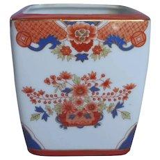 Cachepot Planter Chinese Heavy Porcelain Vintage Imari Colors Blue Gold Bittersweet