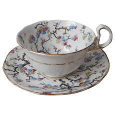 Antique Cherry Blossoms Branches Royal Stafford English Bone China Cup Saucer