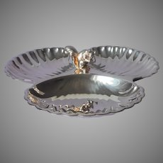 Squirrel Nut Dish Vintage Silver Plated Tripartite Pilgrim Silver Friedman