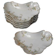 Bone Dishes 6 Antique Maddock China England Forget Me Nots Blue Green