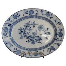 1886 Blue Onion English Staffordshire China Antique Small Platter Victorian