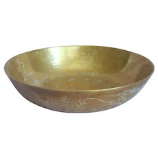 Chinese Brass Bowl Vintage Large Low Engraved Sings Nicely When Struck