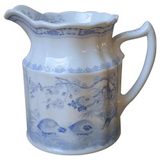 Furnivals Quail Blue Transferware Pitcher Antique English 24 Ounce