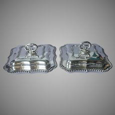Pair Antique Silver Plated Serving Dishes Convertible Lids Removable Handles Gadroon Rims