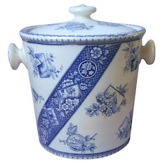 Big Victorian Aesthetic Blue Transferware Slop Bucket Pail With Lid 1884 Antique China