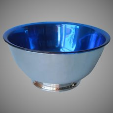 Revere Bowl Silver Plated Blue Liner Vintage Mid Century 8 Inch Oneida