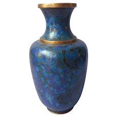 Cloisonne Vase Vintage Chinese All Blue 1970s or 1980s