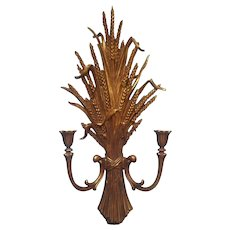 Candle Sconce Wall Vintage Gold Wheat Sheaf Dart 1971