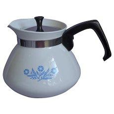 Corning Teapot Cornflower Blue 6 Cup Vintage