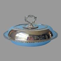 Serving Dish Detachable Handle Convertible Lid Vintage Silver On Copper
