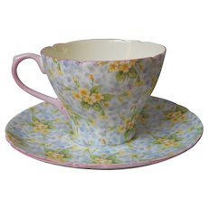 Shelley Primrose Chintz Cup And Saucer Vintage English Bone China Pink Trim Cambridge Shape
