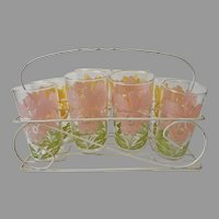 Orchid Tumblers Glasses Caddy Vintage 1950s Set 8 Pink Yellow Flowers