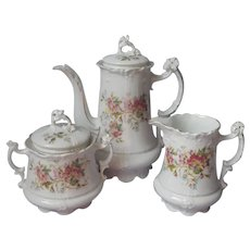 Carl Tielsch Antique Victorian China Coffee Pot Tea Set Creamer Sugar Bowl