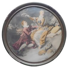1920s to 1930s Romantic French Print In Round Wood Gesso Frame Vintage