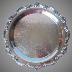 Silver On Copper Tray Footed Round Vintage Poole Massachusetts
