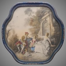 1920s to 1930s Romantic French Print In Curvy Wood Gesso Frame Vintage