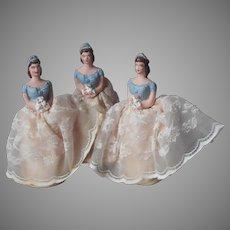 1950s 3 Bridesmaid Plaster Cake Topper Wedding Shower Favor Vintage