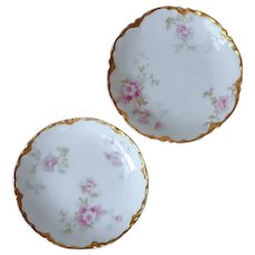 Butter Pats Haviland Limoges 2 Pink Antique China Pink Flowers Gold Hudson