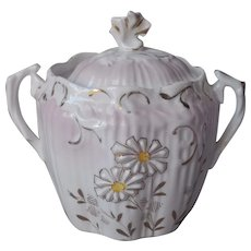 Daisies Pink White Gold Antique China Sugar Bowl