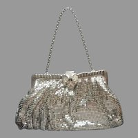 Whiting And Davis Silver Tone Mesh Evening Purse Rhinestone Clasp Vintage 1950s