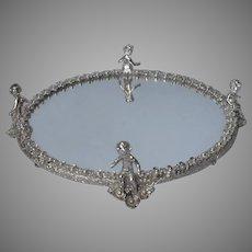 Cherubs Perfume Tray Vanity Vintage Silver Tone Finish Mirror