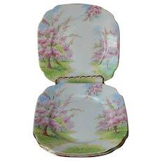 Royal Albert Blossom Time 3 Bread Plates Vintage 1935 English Bone China