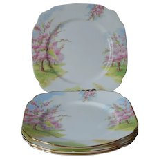 Royal Albert Blossom Time 4 Salad Dessert Tea Plates Vintage 1935 English Bone China