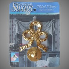Brass Bow Tiebacks Swag Holders Curtain Vintage 1980s Sealed In Package