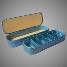 1950s Dresser Boxes Vintage Organizers Quilted Blue Vinyl Satin Stockings Glove Box