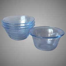 Philbe Fire King  Glass 4 Custard Cups Very Vintage Sapphire Blue
