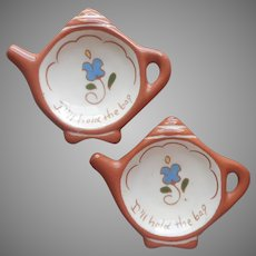 Motto Ware English Vintage Redware Pottery Teabag Holder Holders Pair Signed