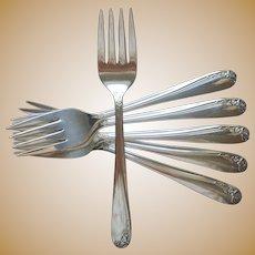 Tupperware Rose 1955 6 Salad Forks Vintage Silver Plated