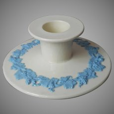 Wedgwood Queens Ware Queensware Candlestick Candle Holder Lavender Blue Cream Vintage