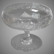 Cut Crystal Relish Compote Pedestal Dish Vintage Lovely Quality