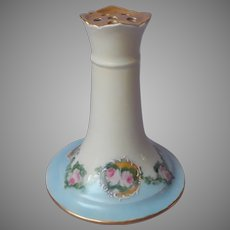 Limoges Hat Pin Holder Antique China Pink Roses Sky Blue Gold