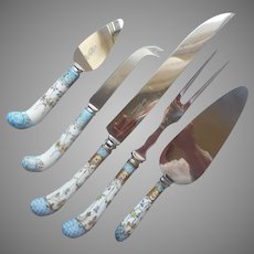 Porcelain Handles English Stainless Steel Dessert Server Carving Set Cheese Knife Pastry