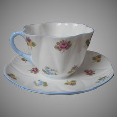 Shelley Rose Pansy Forget Me Not Cup Saucer Vintage English Bone China