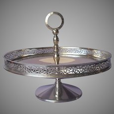 Italian Silver Plated Vintage Pierced Gallery Rim Pedestal Dish Candy Nuts Italy