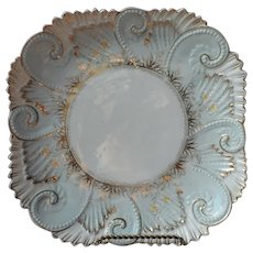 Victorian Dessert Serving Plate Shallow Dish China Ornate Antique Blue Gold White