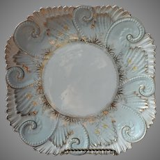 Victorian Dessert Serving Plate Shallow Dish China Ornate Antique Blue Gold White