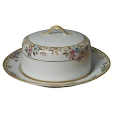 Pancake Muffin Dome And Under Plate Nippon China Antique Pink Blue Gold