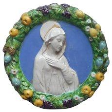 Cantagalli Della Robbia Plaque Mary Virgin Mother Vintage Italy Majolica