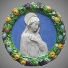 Cantagalli Della Robbia Plaque Mary Virgin Mother Vintage Italy Majolica