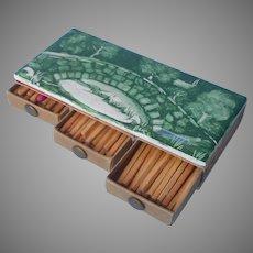 Matches Box Hand Painted Ceramic Tile Green Bridge Scene Signed Alice